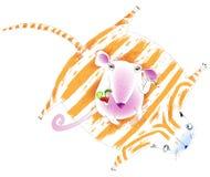 Maus, die auf einer Katze-Haut sitzt Stockbilder