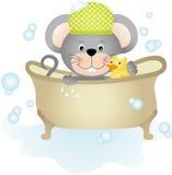Maus, die ein Bad nimmt vektor abbildung