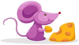 Maus, die ein Stück Käse isst stock abbildung