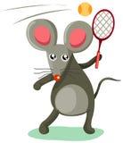 Maus, die Tennis spielt Stockfotos