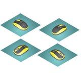 Maus für den Computer in den gelben und schwarzen Farben Stockbild