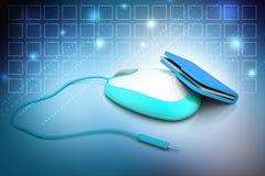 Maus mit Dateiordner Stockfoto
