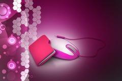 Maus mit Dateiordner Stockfotografie