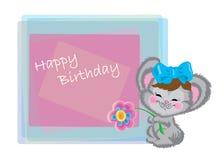 Maus mit einem Bogen und eine Blume auf Geburtstag Stockfoto