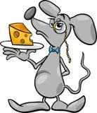 Maus mit Käsekarikaturillustration Lizenzfreie Stockfotografie