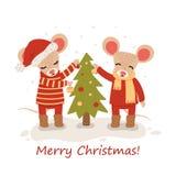 Maus mit Weihnachtsb?umen Weihnachts- und des neuen Jahrescharakter lokalisiert auf einem wei?en Hintergrund postkarte Vektor lizenzfreie abbildung
