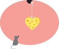 Maus und Inneres vom Käse Lizenzfreies Stockbild
