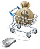 Maus voll angeschlossen an Laufkatze des Geldes lizenzfreie abbildung