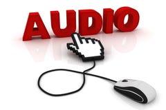 Mauscursorpunkte zum Wort Audio Lizenzfreie Abbildung