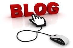 Mauscursorpunkte zum Wort Blog lizenzfreie abbildung
