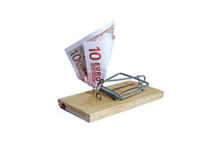 Mausefalle mit Eurobanknote als Köder Stockbild