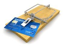Mausefalle mit Kreditkarten (Beschneidungspfad eingeschlossen) Stock Abbildung
