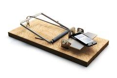 Mausefalle mit Telefon auf Weiß Lizenzfreies Stockfoto