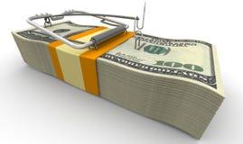 Mausefalle von den Packs von amerikanischen Dollar ohne Köder Lizenzfreies Stockbild