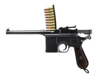 Mauser C96. With magazine on white bg Royalty Free Stock Image