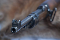 Mauser 98 Muzzle. A Mauser 98 rifle muzzle pointed towards the observer Stock Photos