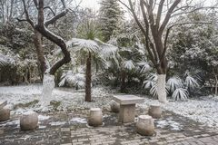 Mausolée de Sun Yat-sen après les chutes de neige dans Mafang photographie stock libre de droits