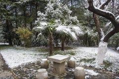 Mausolée de Sun Yat-sen après les chutes de neige dans Mafang image stock