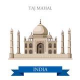 Mausolée de Taj Mahal à Âgrâ, attraction plate de vecteur d'Inde illustration de vecteur