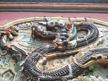 Mausolée de Zhaoling du mur de Dynastie-dragon de Qing Photographie stock libre de droits