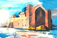 Mausoleo antiguo contra el cielo azul libre illustration
