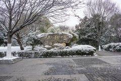 Mausoleo de Sun Yat-sen después de las nevadas en Mafang fotos de archivo libres de regalías