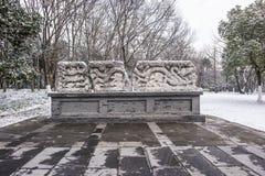 Mausoleo de Sun Yat-sen después de las nevadas en Mafang foto de archivo
