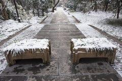 Mausoleo de Sun Yat-sen después de las nevadas en Mafang fotografía de archivo libre de regalías