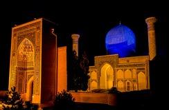 Mausoleo del emir de Gur-e de Tamerlán en la noche - Samarkand, Uzbekistán imágenes de archivo libres de regalías