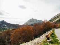 Mausoleo di Njegos sul supporto Lovcen nel Montenegro L'Unione Sovietica aerea Immagini Stock