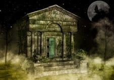 Mausoleo viejo espeluznante ilustración del vector
