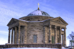 Mausoleum. Grave chapel in winter with snow Stock Image