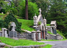 Mausoleum. View of graveyard headstones and mausoleums Stock Photos