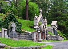 Mausoleum. View of graveyard headstones and mausoleums stock photos