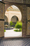 Mausoleum of. Morocco, Rissani. The door on the courtyard to the mausoleum. Only mouslims may visit the mausoleum stock image