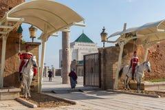 Mausoleum av Mohammed V och och Hassan II i Rabat Arkivbilder