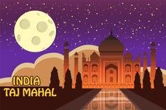 Mausoleum av Taj Mahal i Agra, Indien, historisk sikt, nattmåne, utsiktdragning, religion, tecknad filmstil, vektor royaltyfri illustrationer