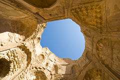 Mausoleum of Bibi Maryam. The ancient 13th century ruins of the mosque built by Bibi Maryam, located in the once thriving merchant city of Qalhat in Oman. Wide royalty free stock photography