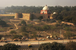 Mausoleum of Ghiyath al-Din Tughluq seen from Tughlaqabad Fort, Stock Photos