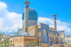 The mausoleum. The Gur-e Amir mausoleum in Uzbek Samarkand became precursor and model for later great tombs, such as Humayun's Tomb in Delhi and the Taj Mahal in Stock Image