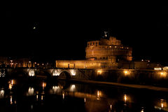 Mausoleum of Hadrian, moon and the bridge in the nighttime Royalty Free Stock Image