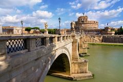 Mausoleum of Hadrian. Sant Angelo bridge and Mausoleum of Hadrian in Rome, Italy Royalty Free Stock Images
