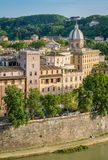 Rome skyline as seen from Castel Sant`Angelo, with the dome of the Basilica di San Giovanni Battista dei Fiorentini. The Mausoleum of Hadrian, usually known as royalty free stock image