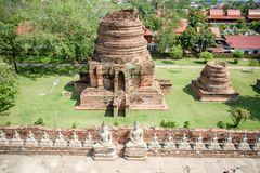 Mausoleum Historical remain in Phra Nakhon Si Ayutthaya, at yai chaimongkol   Thailand, one of the famous historical landmark in t. Mausoleum Historical remain Royalty Free Stock Photos