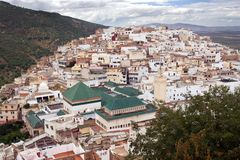 Mausoleum of Idriss I in Moulay Idriss Town Royalty Free Stock Image