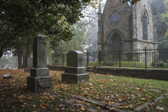 Free Mausoleum In An Old Pioneer Cemetery In Fog Royalty Free Stock Images - 34555939