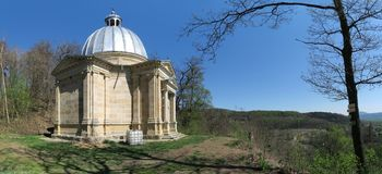 The Mausoleum of Industrialist Schroll - a burial chapel near Levín. In the eastern part of the Czech Republic stock images