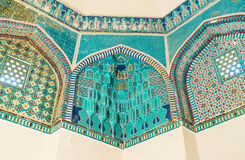 The mausoleum interior. SAMARKAND, UZBEKISTAN - MAY 1, 2015: The interior of the mausoleum in Shah-i Zinda Necropolis, on May 1 in Samarkand Stock Image