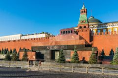 The Mausoleum of Lenin and Kremlin wall on Red Square in Moscow Stock Images