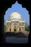 Mausoleum lodhi park delhi framed in doorway Royalty Free Stock Photography